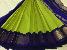 Over - Kanjivaram / Saree Store: Fashion Kanjivaram Sarees Silk, Blue Silk Saree, Bridal Silk Saree, Indian Silk Sarees, Soft Silk Sarees, Saree Wedding, Kerala Saree Blouse Designs, Cotton Saree Designs, Half Saree Designs