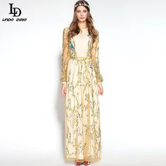 Autumn Winter Runway Maxi Dress Women Elegant Floor Length Voile Flower Embroidery Long Dress Do you want it www.sukclothes.co... #shop #beauty #Woman's fashion #Products