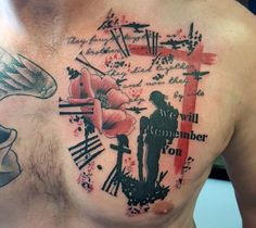 Chest Men's Military Rank Tattoos