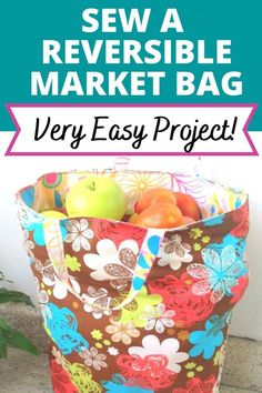 Learn how to go grocery shopping the eco- friendly way with this reusable reversible grocery bag sewing pattern. This tote bag is simple and easy to sew. This DIY market bag sewing tutorial with its step by step instructions is a great project for beginners and experienced seamstresses alike. With this easy tutorial, you can learn how to make a large lined tote with a pocket to carry your essentials in style. #grocerybagpattern #easysewingproject #easythingstosew #grocerybagsdiyreusable