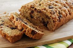 Low Fat Chocolate Chip Zucchini Bread #wholewheat #applesauce