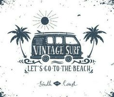 Illustration of Vintage summer surf print with a mini van, palm trees and lettering. vector art, clipart and stock vectors. Surf Vintage, Vintage Surfing, Vintage Logo, Vintage Branding, Vintage Style, Deco Surf, Surfing Tips, Surf Decor, Summer Surf