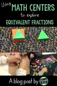 Fractions Day Using Stations to Build Equivalent Fractions - The Teacher Studio 4th Grade Fractions, Teaching Fractions, Equivalent Fractions, Fourth Grade Math, Teaching Math, Dividing Fractions, Multiplying Fractions, Teaching Ideas, Fraction Activities