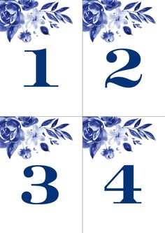 These printable table numbers are part of the Delft Dream collection. Botanicals in delft blue and a straightforward font combine to bring a touch of cool blue to your occasion.