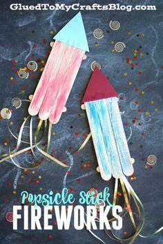 Popsicle Stick Fireworks - Kid Craft