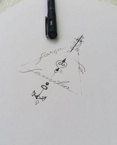 """Instagram photo by ateliekefonascimento - Arte desenvolvida para tatuagem da cliente @nmamorim, o texto abaixo retrata o que ela quis com o desenvolvimento desse job. """"...Te explicar a história toda eu fiquei doente com câncer de tireoide a um ano atrás isso fez eu ter uma ligação muito forte com 3 palavras Família Força e fé ... eu queria juntas essas 3 palavras em uma tatuagem de uma forma delicada e bonita!"""" Arte registrada. Www.kefonascimento.com.br"""