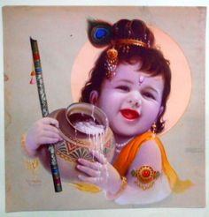 Vintage religious print of Hindu God Baby Krishna Baby Krishna, Little Krishna, Krishna Leela, Cute Krishna, Lord Krishna Images, Radha Krishna Pictures, Radha Krishna Photo, Krishna Art, Krishna Painting