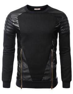 SMITHJAY Mens Hip-Hop Leather Padding Power Shoulder Sweatshirt w/ Zipper Trim #smithjay