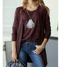 Tanktop & Cardigan Set Eggplant color tanktop and cardigan  ~One size fits most ~Tank is 25in long,  17 1/2 across chest  ~Cardigan  is 31 in long, 17in across the shoulders, & 19in from armpit to armpit Savvy Styles Boutique  Tops Tees - Long Sleeve