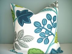 Indoor/Outdoor 18x18 Designer Pillow P Kaufman In Jack's Beanstalk In Aquamarine, Decorative Pillow Cover,Same Fabric On Both Sidess,...use this to reupholster chairs