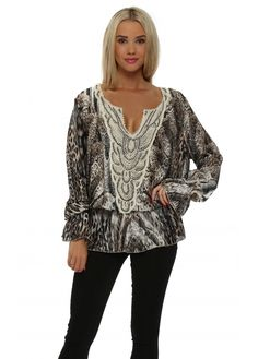 LAURIE & JOE Satin Grey Snakeskin Print Tunic Top
