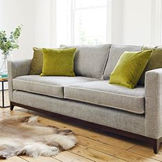 Darwin Grand Sofa in Habitat Cloud with contrast piping in Mystic Dove & accent cushions in Mystic Moss and Grass Corner Sofa Fabric, Corner Sofa Chaise, Fabric Sofa, Living Room Color Schemes, Colour Schemes, Two Seater Couch, Green Lounge, Large Sofa, Darwin