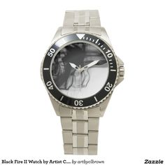 Black Fire II Stainless Steel Watch Designed by Artist C.L. Brown. Watch is available in a variety of styles on Zazzle. #watch #watches #fashion #accessories #artbyclbrown