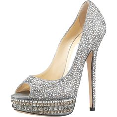 Jimmy Choo Kendall Beaded Platform Pump ($2,995) ❤ liked on Polyvore