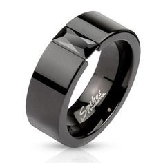 Fashion Ring Black IP 8mm Band w/ Rectangular Black CZ Stainless Steel