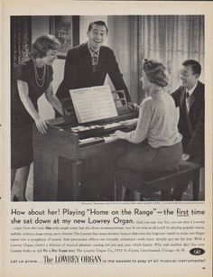 """Description: 1961 LOWREY ORGAN vintage magazine advertisement """"How about her!"""" -- The Lowrey Brentwood model (pictured) ... How about her! Playing """"Home on the Range"""" -- the first time she sat down at my new Lowrey Organ ... Let us prove ... The Lowrey Organ is the easiest to play of all musical instruments! -- Size: The dimensions of the full-page advertisement are approximately 10.5 inches x 13.5 inches (26.75 cm x 34.25 cm). Condition: This original vintage full-page advertisement is ..."""