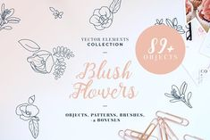 I am happy to share this vector useful collection of flowers and leaves. Every object is isolated and transparent so you can use it at any sizes or materials. Psd Brushes, Mermaid Clipart, Font Names, Blush Flowers, Cute Characters, Paper Texture, I Am Happy, Scandinavian Design, Graphic Illustration