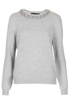Great for the holidays and work. Tall Crystal Stud Jumper from Topshop