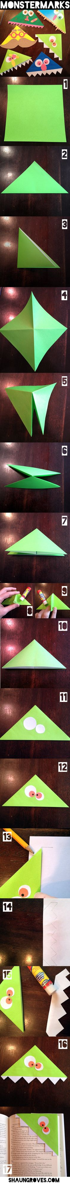Simple directions to make a monster themed bookmark. Easy craft for kids.