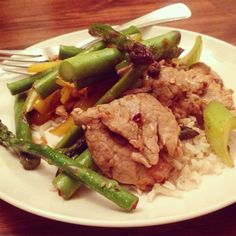 Plated asparagus and velvet pork