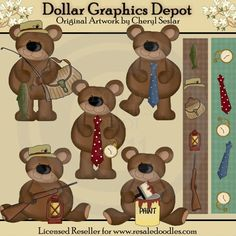 Father's Day Bears - Clip Art - $1.00 : Dollar Graphics Depot, Quality Graphics ~ Discount Prices
