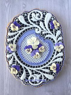 """I'm so honoured that my """"Spring Lace"""" cookie was featured on Cookie Connection's """"Practice Bakes Perfect Challenge No. Lace Cookies, Flower Cookies, Easter Cookies, Royal Icing Cookies, Fun Cookies, Sugar Cookies, Decorated Cookies, Cookies Decorados, Galletas Cookies"""