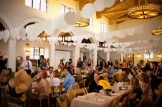 reception. What if you did something like this with balloons? Or something that has color. It would bring the ceiling down a little, at least.