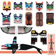 "Totem Pole Clip Art Set (of the Pacific Northwest) ClipArt-Set ""Totempfahl"" (aus dem pazifischen Nordwesten) Arte Haida, Haida Art, Native American Crafts, American Indian Art, American History, Native American Totem Poles, Native American Symbols, American Women, American Indians"