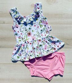 Cream T-Shirt and Blue Tank Top Set Blue Romper Baby Girls 4-Piece Cream Tank Top