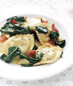Ravioli With Spinach and Bacon | Here's a great recipe to sneak in good-for-you greens. Try more pasta pleasers: