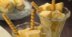 Sorvete de Milho Verde: 01 caixinha (395g) de leite condensado Camponesa 01 medida de leite em pó Camponesa reconstituído (equivale a uma caixinha de leite condensado Camponesa) 01 lata de milho verde escorrido 01 caixinha (200g) de creme de leite Camponesa 01 colher (chá) de essência de baunilha