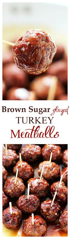 {USA} These Brown Sugar-Glazed Turkey Meatballs pack a bite-size punch of sweet and spicy, juicy and delicious! Perfect as an appetizer or dinner! I Love Food, Good Food, Yummy Food, Tasty, Meatball Recipes, Turkey Recipes, Turkey Meatball Sauce, Ground Turkey Meatballs, Chicken Recipes