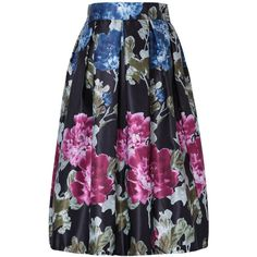 Black Floral Print Elastic Waist A-line Skirt ($27) ❤ liked on Polyvore featuring skirts, floral printed skirt, floral skirt, a-line skirt, elastic waistband skirt and floral knee length skirt