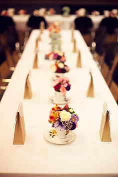 for a proper British High Tea party or shower...decorate tables with flowers in teacups