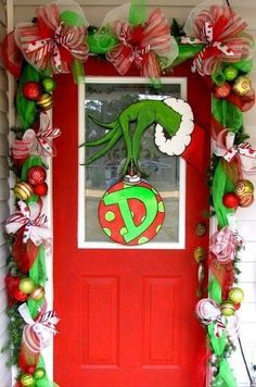 The Grinch Front Porch Garland and Door Decor Idea