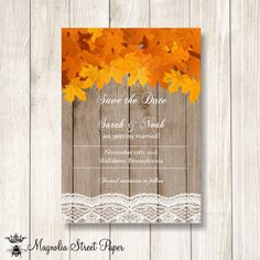 Fall Leaves Save the Date, Maple Leaves Barn Wood and Lace Save the Date, Rustic Save the Date Invitation, Autumn Save Our Date Invite