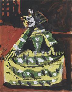 Pablo Picasso - 17/11/1957, Las Meninas (Isabel de Velasco). The Suite nr 52. (Inspired by: Diego Velázquez, Las Meninas)  MPB 70.484. Oil on canvas. 24x19 cm