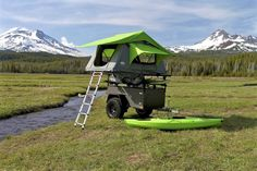 Off road trailer featureing all-terrain tires, an axel-less suspension system from Timbren, and a sleek rugged look that is sure to complement. Best Tents For Camping, Kayak Camping, Camping Life, Camping Hacks, Camping Stuff, Camping Ideas, Teardrop Camper Trailer, Trailer Tent, Off Road Trailer