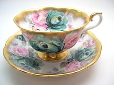 Royal Albert  Summer Bounty Series Jade Tea Cup And Saucer, Heavy Gold edge,  Pink and Green Roses, Wide Mouth Tea cup. by AntiqueAndCrafts on Etsy