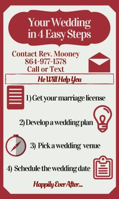 How to Elope in Greenville South Carolina in 4 Easy Steps. Wedding Officiant for Greenville Upstate SC: Rev. Michael Mooney Call or Text http:…