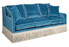 Love the fringe detailing on this velvet sofa!