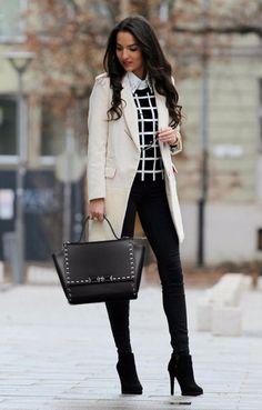 beige classic coat + black bag outfit