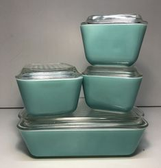 VINTAGE PYREX TURQUOISE ROBINS EGG BLUE 8PC COMPLETE REFRIGERATOR DISH SET WOW #Pyrex
