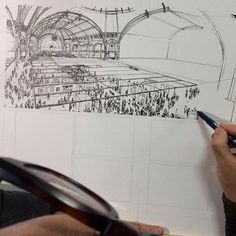 Work in progress Perspective Drawing Lessons, Kim Jung, Sketch 2, Grand Palais, Crowd, Sci Fi, Study, Paris, Photo And Video