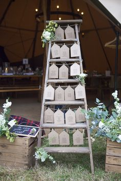 Ladder Seating Plan Table Chart Luggage Tag Boho Country Tipi Wedding http://www.gabriellemcmillan.com/