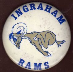 SUBJECT : INGRAHAM RAMS - Ingraham High school - Seattle, WA Washington ITEM : celluloid Pinback Button , Pin , Badge - PEP Rally pin. VINTAGE : circa 1965 , 1960s . SIZE : diameter of 3-1/2 inches CONDITION : minor age or moisture spotting on the white background surface, otherwise Excellent .