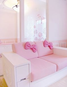 this simple loveseat would be an adorable addition to a Hello Kitty room...I like the idea of embracing a child's passion for a character without plastering the room with novelty posters and stuffed animals.  this feels like a room Hello Kitty would have, not one that was bought at a store. {via SusieBrownMusic.tumblr.com}