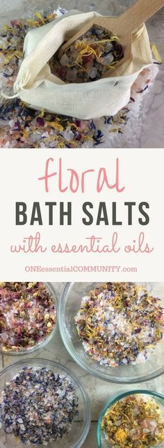 DIY Floral Bath Salts, DIY and Crafts, DIY floral bath salts -- a great source of minerals and trace elements, and help remove toxins from your skin. Plus depending on the essential oils yo. Bath Salts Recipe, Diy Beauté, Diy Spa, Bath Recipes, Floral Bath, Homemade Beauty, Young Living, Herbalism, Eyeliner