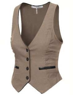 Amazon.com: 9XIS Womens Pleather Piping Detail Button Down Vest: Clothing