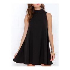 SheIn(sheinside) Black Turtleneck Sleeveless Zipper Shift Dress (4.040 HUF) ❤ liked on Polyvore featuring dresses, black, cocktail dresses, short sleeve dress, black shift dress, black dress and turtleneck